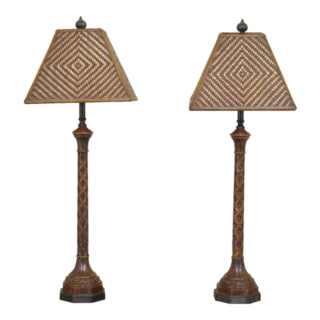 Carved Oak Lamps with Bronze Bases & Leather Shade - A Pair For Sale