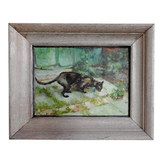 Cat in the Garden Impressionist Painting For Sale