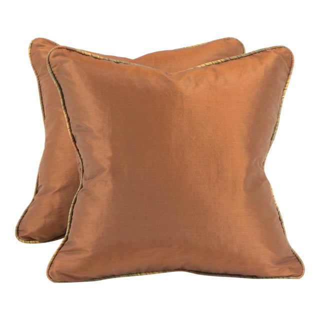 Copper Ribbed Silk Pillows - Pair - Image 1 of 4