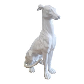 Mid-Century Hollywood Regency Style Glazed Ceramic Greyhound Whippet Statue For Sale