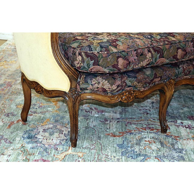 Wood Louis XV Style Carved Walnut Tapestry Sofa For Sale - Image 7 of 13