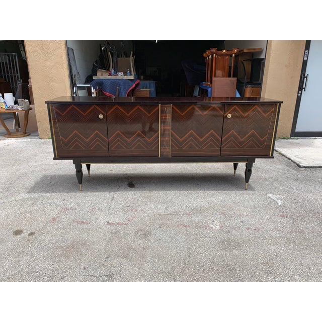 """1940s French Art Deco Exotic Macassar Ebony """"Zigzag"""" Buffet/Sideboard For Sale - Image 13 of 13"""