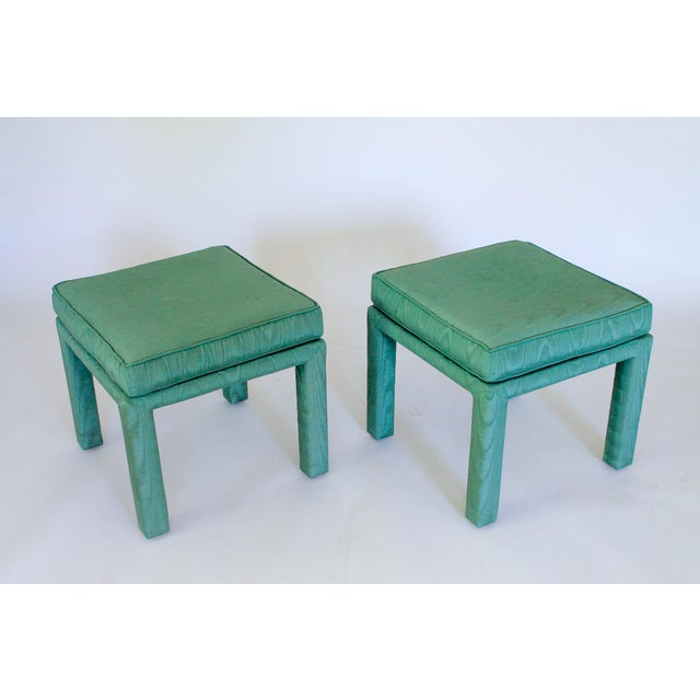 Hollywood Regency Parsons Pillow Top Ottomans - a Pair For Sale - Image 3 of 8