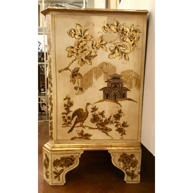 Wood Vintage Cream Chinoiserie Painted Chest For Sale - Image 7 of 8