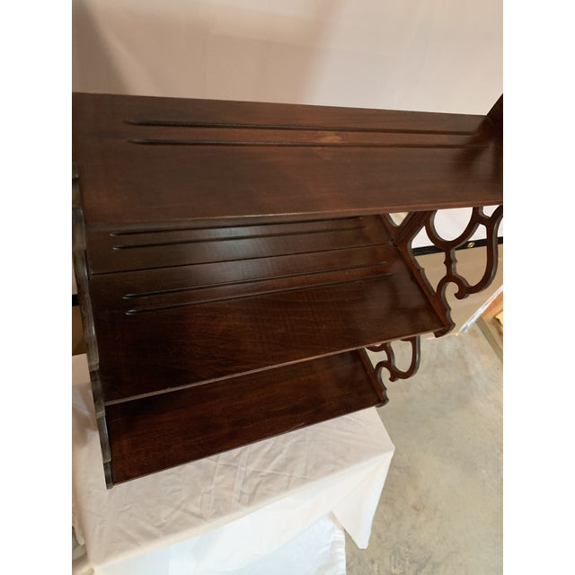 Wood Antique Chippendale Carved Mahogany 3 Tier Wall Hanging Display Rack For Sale - Image 7 of 12