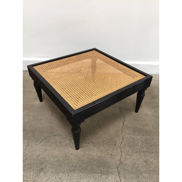 Caning Anglo-Indian Ebonized Ottoman or Side Table For Sale - Image 7 of 13