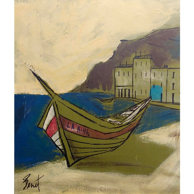 French Benet -Fishing Boat Ashore - 1960s French Oil Painting For Sale - Image 3 of 7