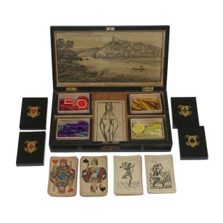 Lacquer and Stenciled Game Box With Cards, European 19th Century For Sale