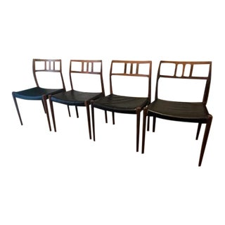 1960s Vintage Model #79 Niels Moller Rosewood Side Chairs- Set of 4 For Sale
