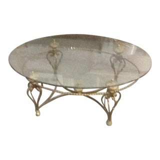 La Barge Hollywood Regency Oval Glass Coffee Table For Sale