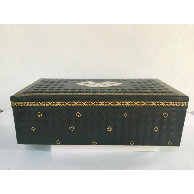 1950s 1950s Vintage Italian Quilted Green Card / Game Box For Sale - Image 5 of 13