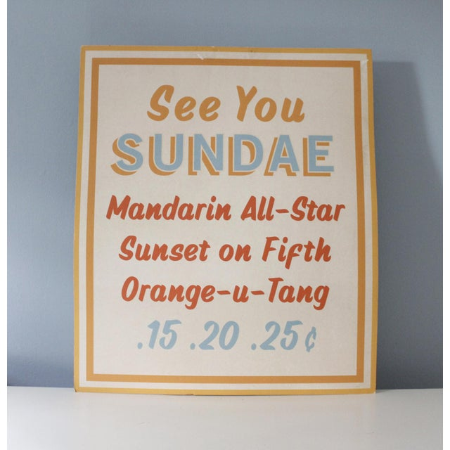 Blue Vintage Dairy Queen Ice Cream Sundae Menu Board Sign Cardstock Advertising Mid Century For Sale - Image 8 of 8