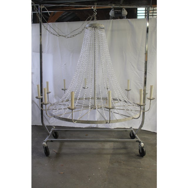 White Napoli Style 'Aiden' Gray Draped Transparent Chandelier For Sale - Image 8 of 8