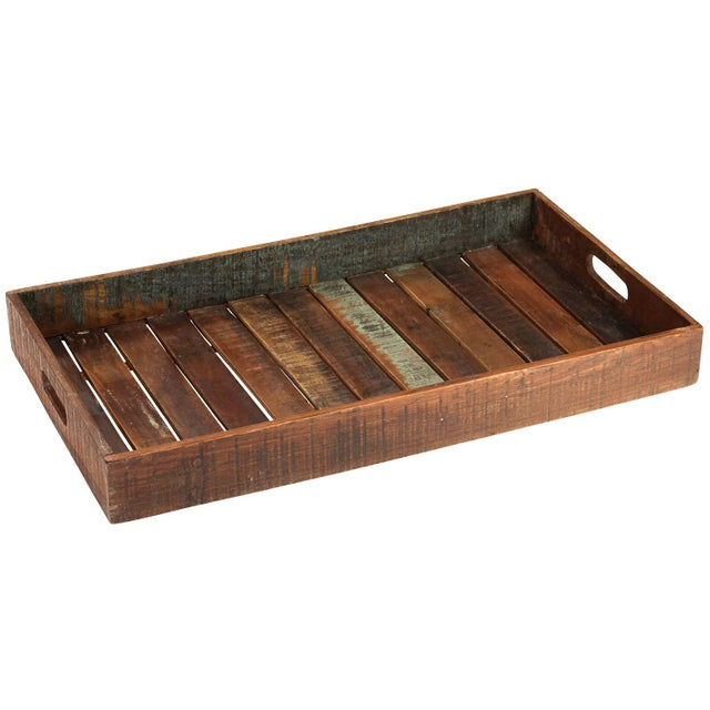 Reclaimed wood serving tray chairish Where can i buy reclaimed wood near me