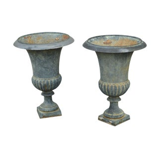 Quality Tall Pair French Cast Iron Garden Urns Planters For Sale