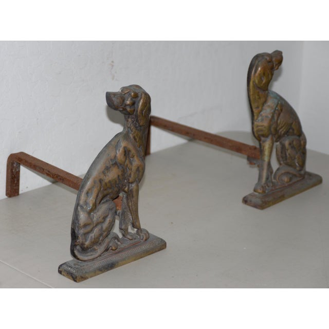 """Rustic 19th Century Cast Iron """"Shorthaired Pointer"""" Andirons C.1880s - a Pair For Sale - Image 3 of 9"""