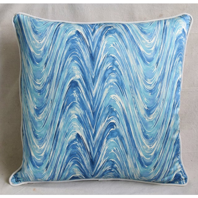 "Contemporary Blue/White Marbleized Swirl Feather/Down Pillows 24"" Square - Pair For Sale - Image 3 of 13"