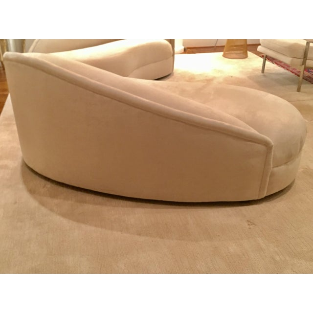 Modern White Suede Sofa Chaises - a Pair - Image 7 of 10
