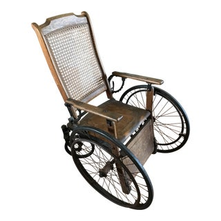 Antique Oak Cane-Back St. Mary's Hospital Wheelchair, 1930s