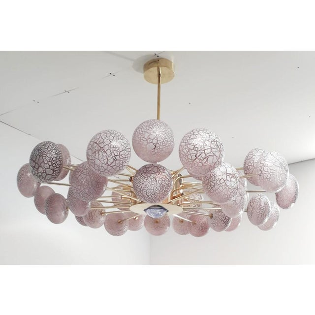 Italian Crackled Orbs Chandelier by Fabio Ltd For Sale - Image 3 of 12