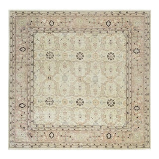 Square Traditional Hand Woven Wool Rug 9'9 X 9'10 For Sale