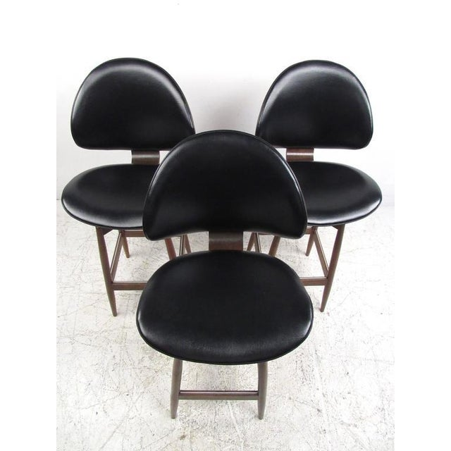 Kodawood Mid-Century Modern Clamshell Bar Stools - Set of 3 For Sale - Image 4 of 11