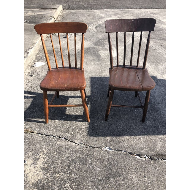 Vintage Rustic Schoolhouse Chairs - a Pair For Sale - Image 12 of 12