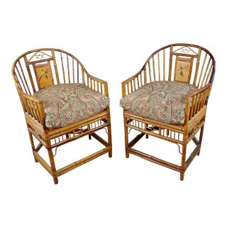1920s Antique Brighton Pavilion Chinoiserie Chippendale Bamboo Armchairs - A Pair For Sale