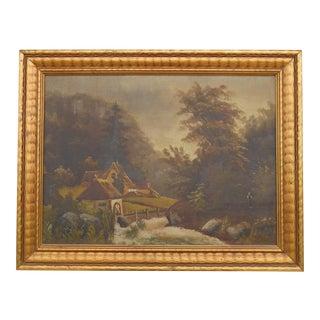 Antique Original Landscape With Cottage Floral Signed Oil Painting For Sale