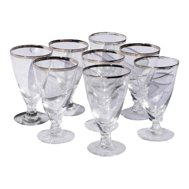 1930s Silver Rimmed Cocktail Glasses 8 Attributed to Dorothy Thorpe - Set of 8 For Sale