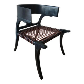 D Klismos Chair in Black Lizard For Sale
