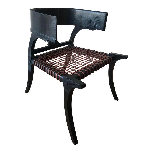 D Klismos Chair in Black Lizard For Sale