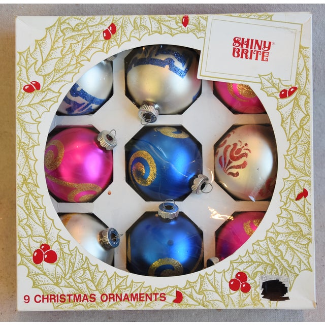 """Set of 9 vintage hand-decorated glass Christmas tree ornaments with box. No maker's mark. Ornaments, 2.5""""Dia x 3""""H; box,..."""