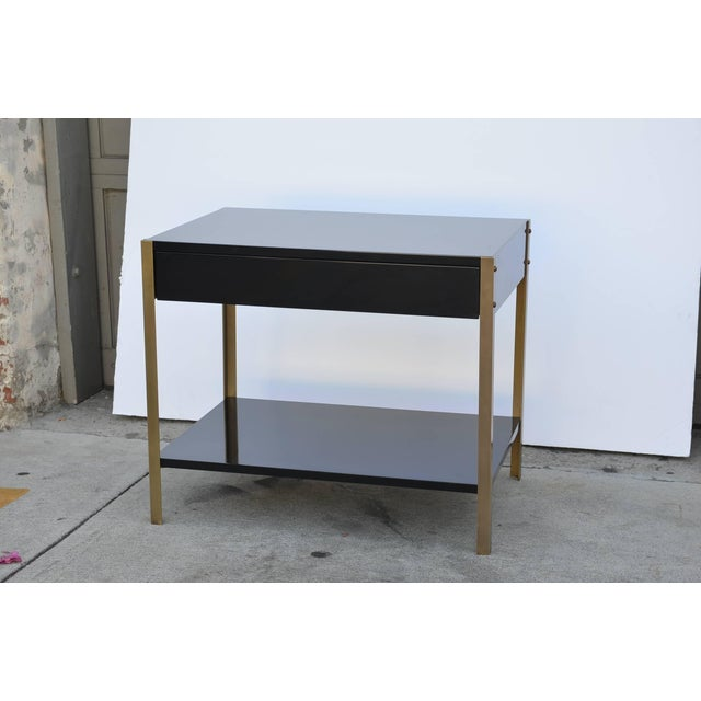 """Modern Contemporary Design Frères """"Laque"""" Black Lacquer and Brass Nightstands - a Pair For Sale - Image 3 of 9"""