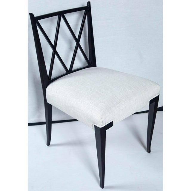 Fabric Mid Century Tommi Parzinger Double 'X' Back Chairs- Set of 4 For Sale - Image 7 of 8