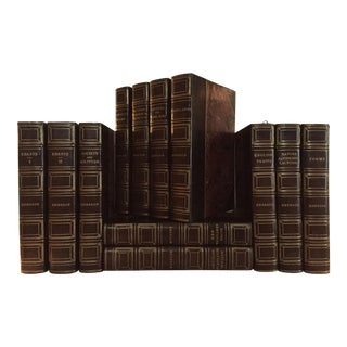 Early 20th Century Emerson's Works Decorative Leather Bound Volumes - Set of 12 For Sale