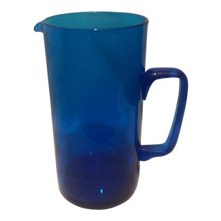 1970s Vintage Blenko Handblown Electric Blue Pitcher For Sale