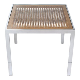 1970s Chrome & Cane Side Table in the Style of Milo Baughman For Sale