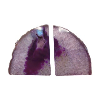 Magenta Geode Bookends - A Pair