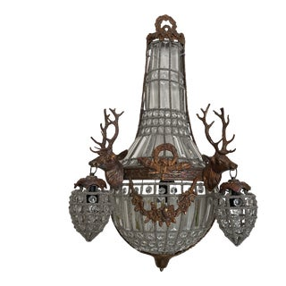 Large Spanish Copper Deer Head Crystal Sconce For Sale