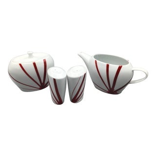Mikasa Pure Red Portuguese Porcelain Creamer, Sugar Bowl, Salt and Pepper Shakers - Group of 4 For Sale