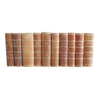 Antique Danish Leather Bound Love Books - Set of 10 For Sale