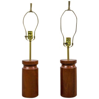 Rare Pair of Table Lamps by Arden Riddle in Cherry For Sale