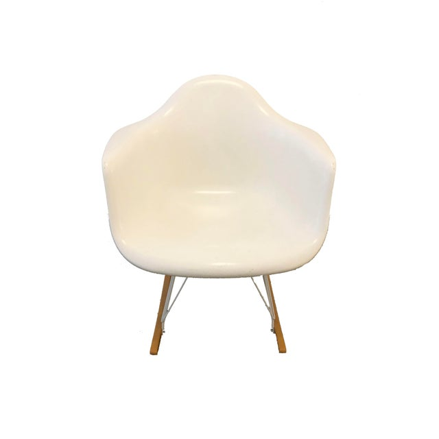 Modernica Case Study Furniture Arm Shell Rocker. White Fiberglass Shell, Maple Wood Base With Zinc Wire. In great shape,...
