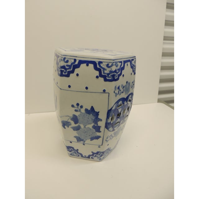 Vintage Blue and White Floral Mini-Garden Stool - Image 4 of 7