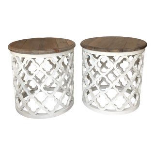 Moroccan White Trellis Drum Side Tables - a Pair