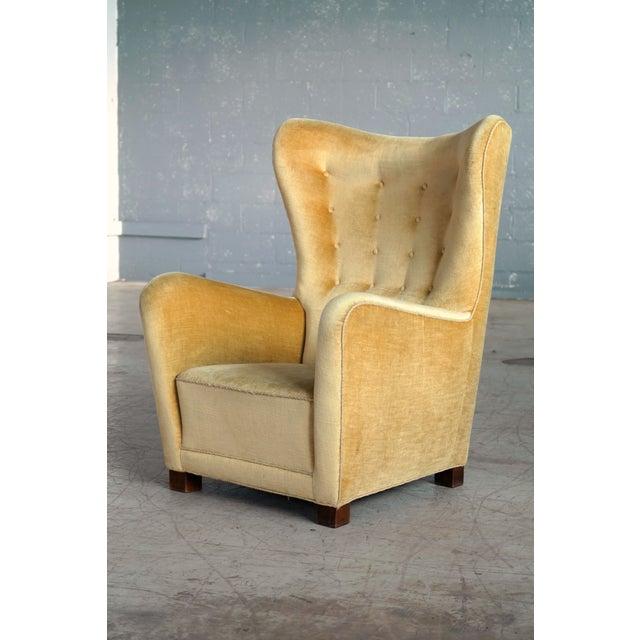 Fritz Hansen Model 1672 Highback Mohair Lounge Chair Danish Midcentury 1940's For Sale - Image 14 of 14