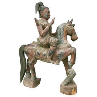Indonesian Carved Figure on Horse For Sale