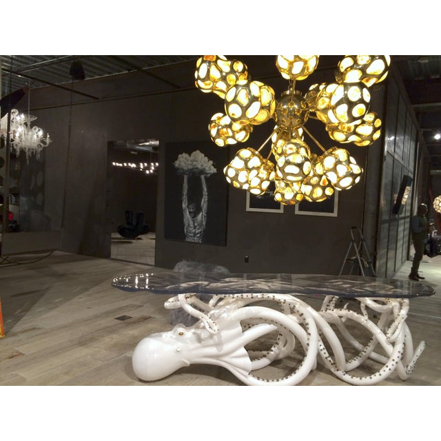 Contemporary White Resin Octopus Console Table With Clear Amethyst Resin Top For Sale - Image 3 of 8