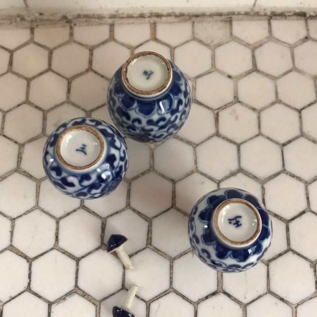 Chinese Traditional Blue & White Floral Porcelain Perfume Bottles - Set of 3 For Sale - Image 4 of 10